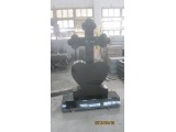 Chinese Black Granite Cross Headstone